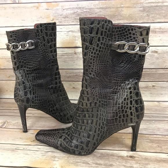 Donald J. Pliner Shoes - Donald Pliner Snake Print Boots Heels Bootie Croc